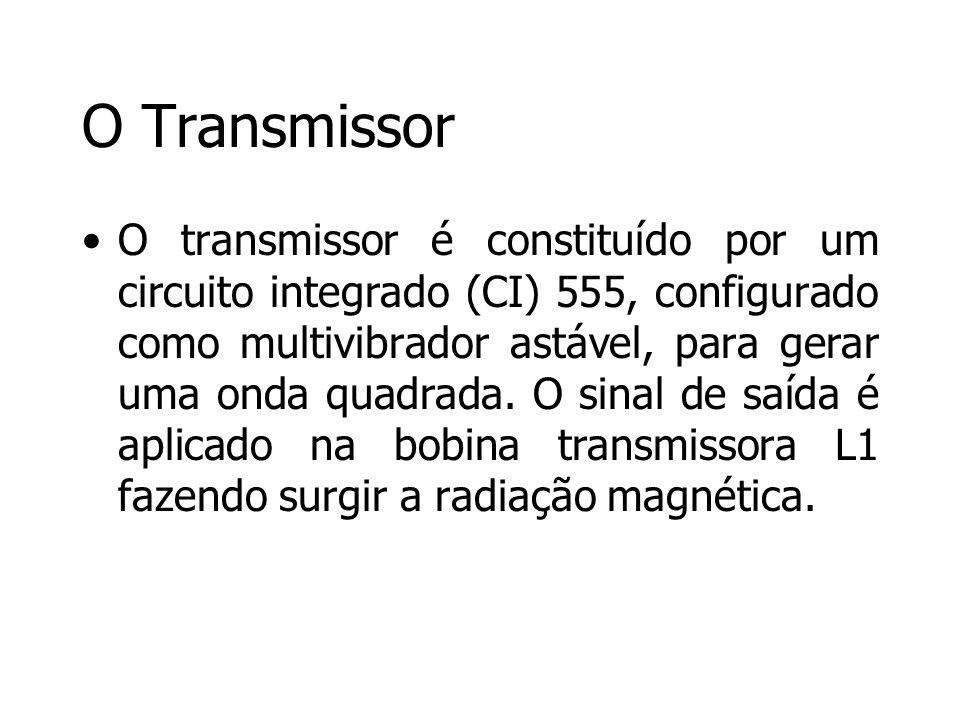 O Transmissor O transmissor é constituído por um circuito integrado (CI) 555, configurado como multivibrador astável, para gerar uma onda quadrada. O