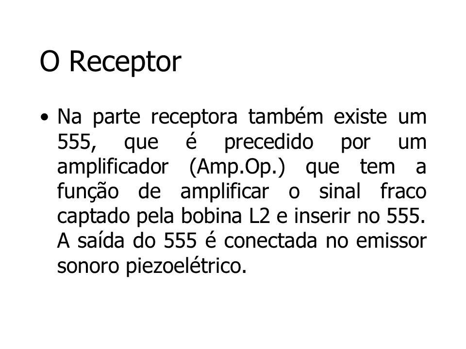 O Receptor Na parte receptora também existe um 555, que é precedido por um amplificador (Amp.Op.) que tem a função de amplificar o sinal fraco captado