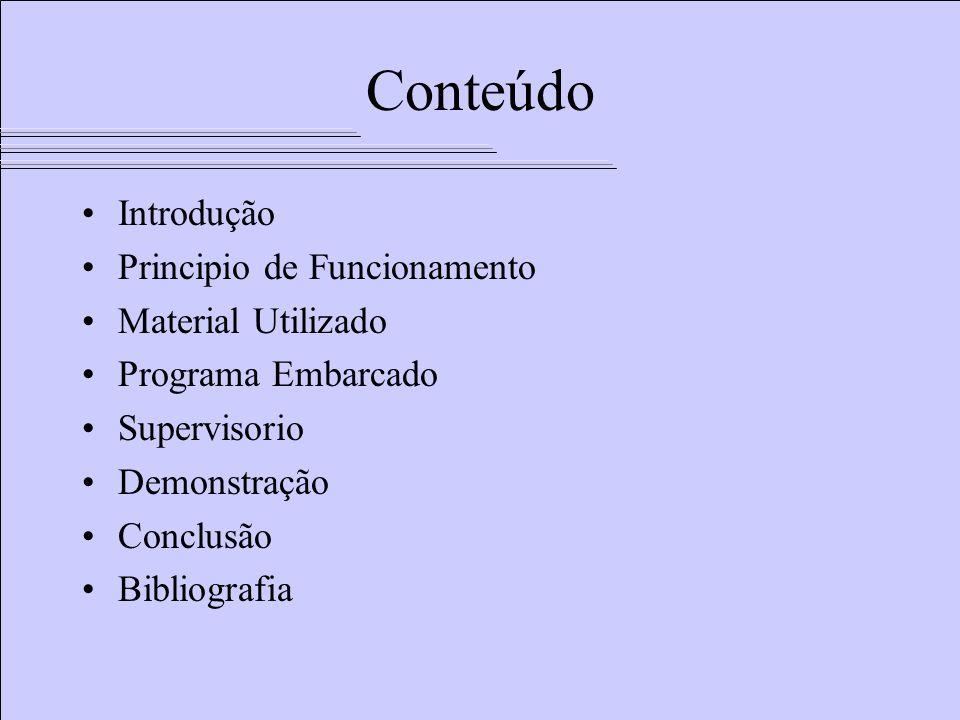Conteúdo Introdução Principio de Funcionamento Material Utilizado Programa Embarcado Supervisorio Demonstração Conclusão Bibliografia
