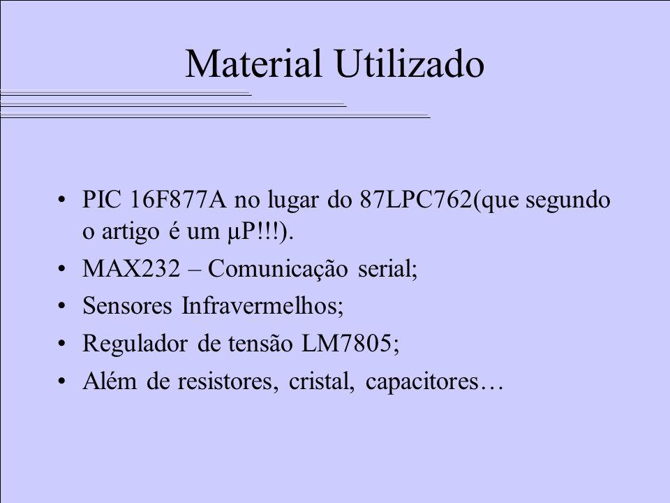 Material Utilizado PIC 16F877A no lugar do 87LPC762(que segundo o artigo é um µP!!!). MAX232 – Comunicação serial; Sensores Infravermelhos; Regulador