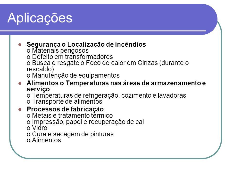 Aplicações Segurança o Localização de incêndios o Materiais perigosos o Defeito em transformadores o Busca e resgate o Foco de calor em Cinzas (durant