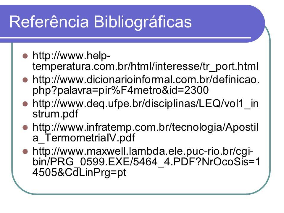 Referência Bibliográficas http://www.help- temperatura.com.br/html/interesse/tr_port.html http://www.dicionarioinformal.com.br/definicao. php?palavra=