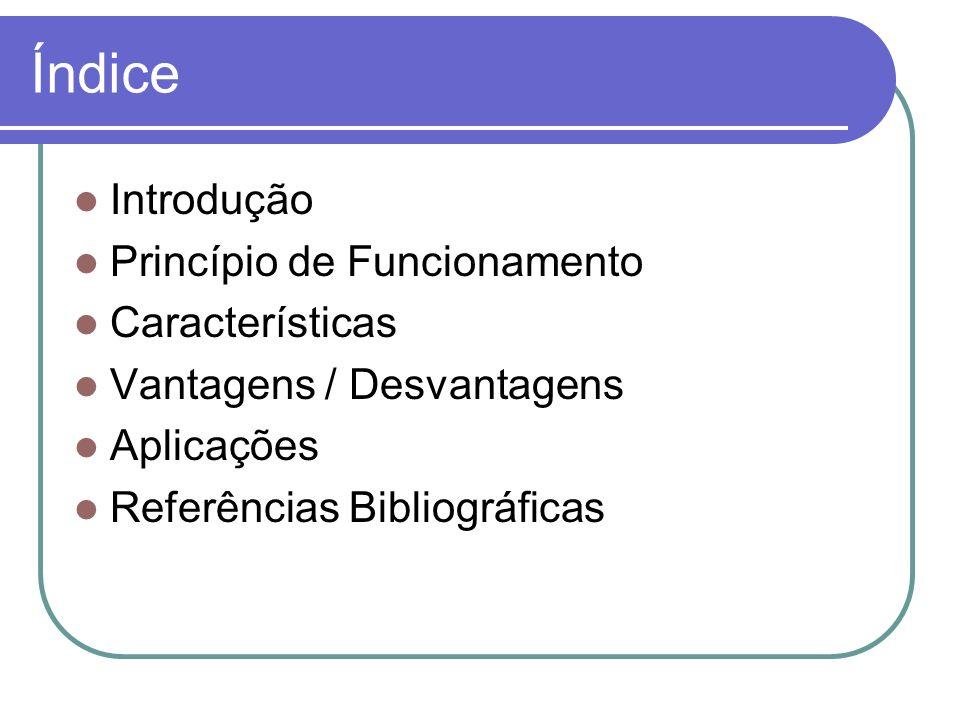 Índice Introdução Princípio de Funcionamento Características Vantagens / Desvantagens Aplicações Referências Bibliográficas