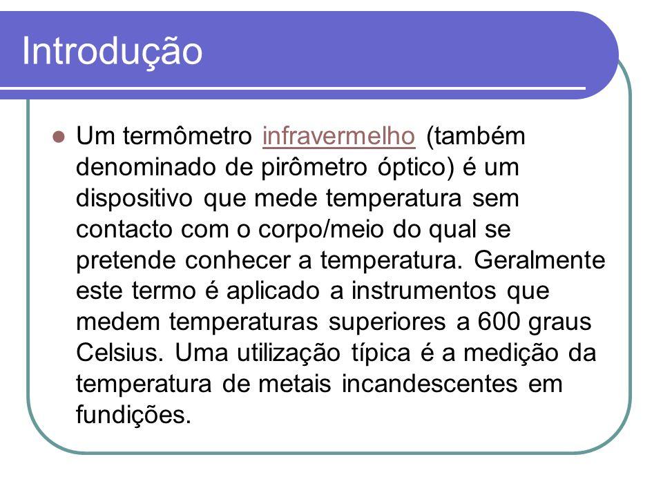 Introdução Um termômetro infravermelho (também denominado de pirômetro óptico) é um dispositivo que mede temperatura sem contacto com o corpo/meio do