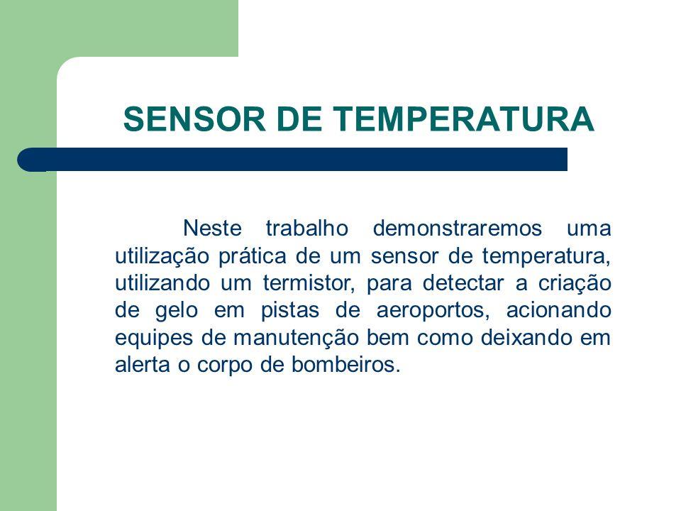SENSOR DE TEMPERATURA Neste trabalho demonstraremos uma utilização prática de um sensor de temperatura, utilizando um termistor, para detectar a criaç