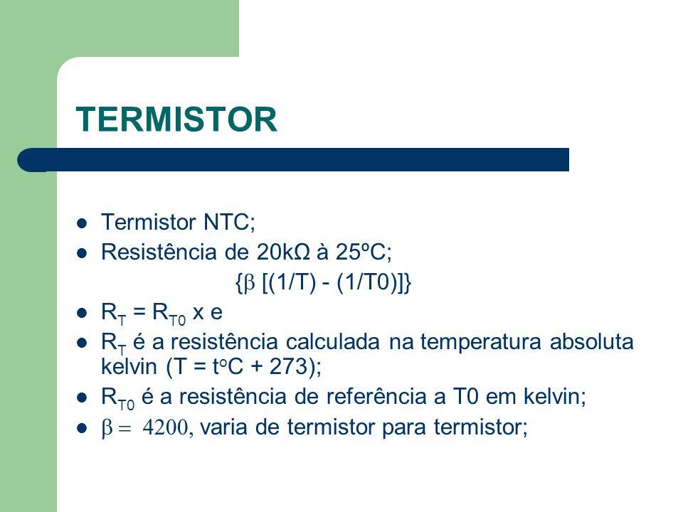 TERMISTOR Termistor NTC; Resistência de 20kΩ à 25ºC; { [(1/T) - (1/T0)]} R T = R T0 x e R T é a resistência calculada na temperatura absoluta kelvin (