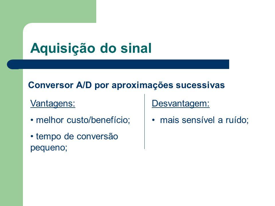 Aquisição do sinal Conversor A/D por aproximações sucessivas Vantagens: melhor custo/benefício; tempo de conversão pequeno; Desvantagem: mais sensível