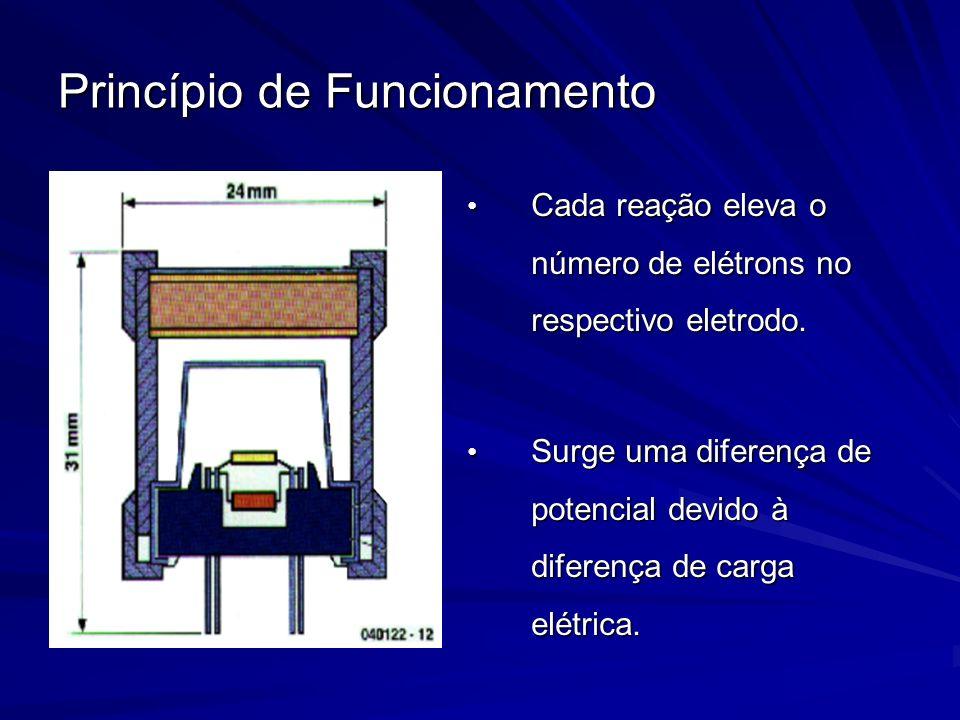 Princípio de Funcionamento Cada reação eleva o número de elétrons no respectivo eletrodo. Cada reação eleva o número de elétrons no respectivo eletrod
