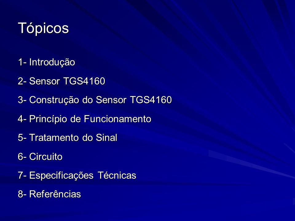 Tópicos 1- Introdução 2- Sensor TGS4160 3- Construção do Sensor TGS4160 4- Princípio de Funcionamento 5- Tratamento do Sinal 6- Circuito 7- Especifica