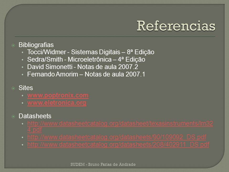 Bibliografias Tocci/Widmer - Sistemas Digitais – 8ª Edição Sedra/Smith - Microeletrônica – 4ª Edição David Simonetti - Notas de aula 2007.2 Fernando A