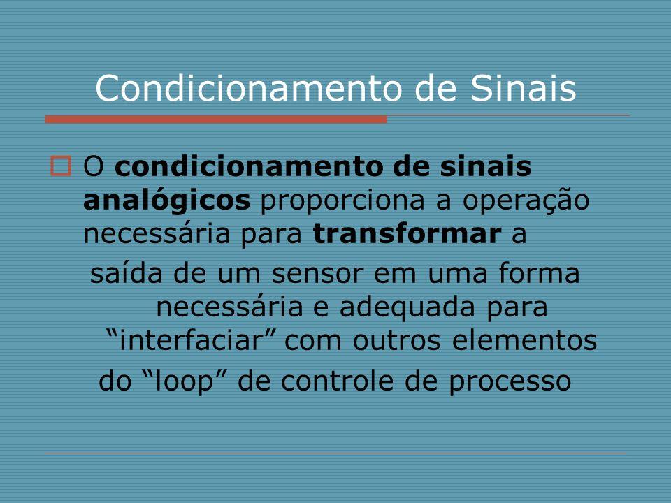 Condicionamento de Sinais O condicionamento de sinais analógicos proporciona a operação necessária para transformar a saída de um sensor em uma forma