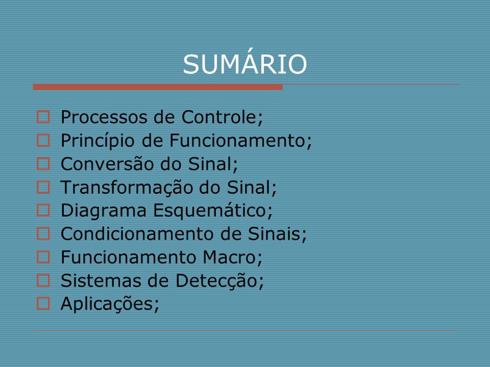 SUMÁRIO Processos de Controle; Princípio de Funcionamento; Conversão do Sinal; Transformação do Sinal; Diagrama Esquemático; Condicionamento de Sinais