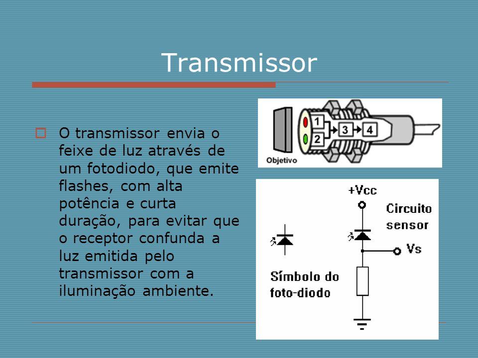 Receptor O receptor é composto por um fototransistor sensível a luz, que em conjunto com um filtro sintonizado na mesma freqüência de pulsação dos flashes do transmissor, faz com que o receptor compreenda somente a luz vinda do transmissor.