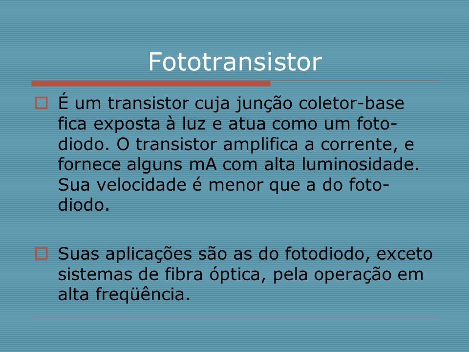 Fototransistor É um transistor cuja junção coletor-base fica exposta à luz e atua como um foto- diodo. O transistor amplifica a corrente, e fornece al