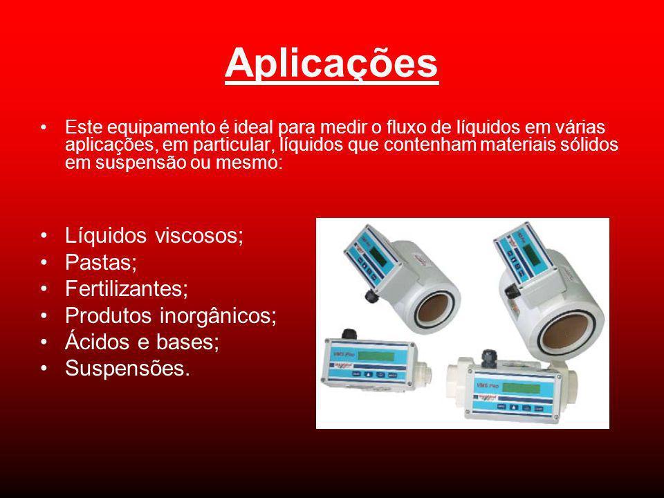 Aplicações Este equipamento é ideal para medir o fluxo de líquidos em várias aplicações, em particular, líquidos que contenham materiais sólidos em su