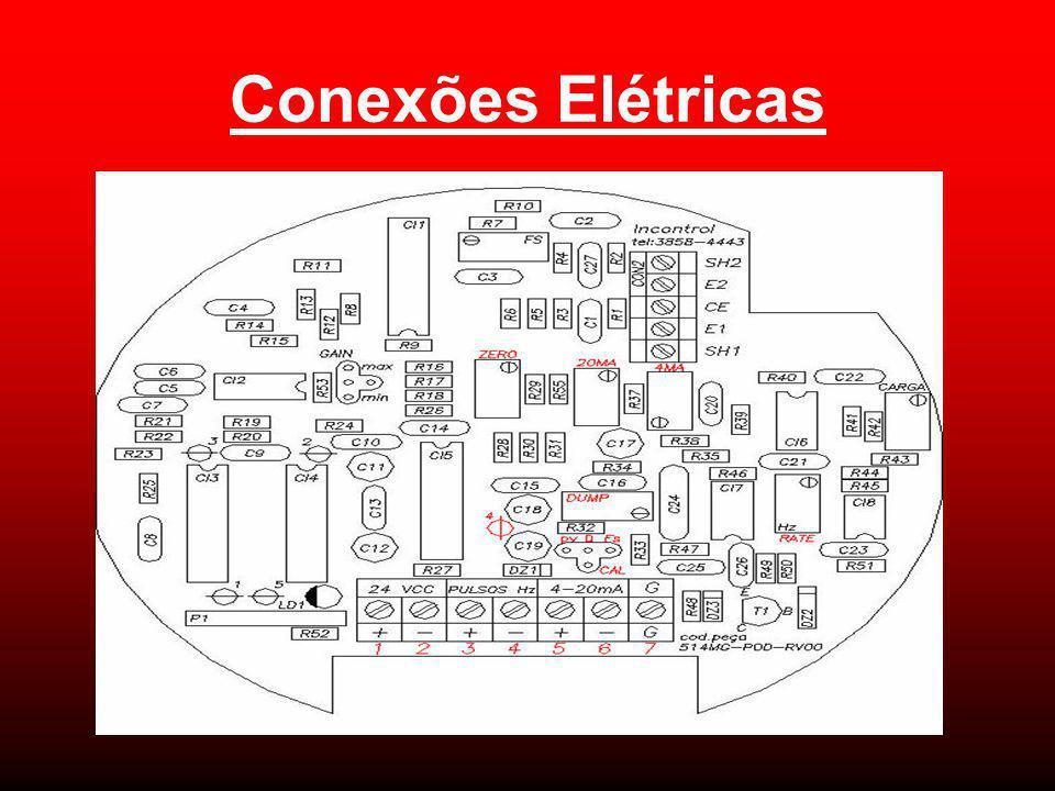 Interligações entre o medidor de vazão e os indicadores digitais, CLPs e a alimentação do equipamento Alimentação 24 Vcc / Sinal de saída de pulsos e 4 a 20 mA: Conexões Elétricas