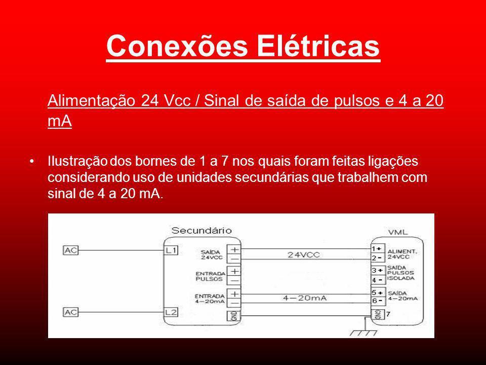 Alimentação 24 Vcc / Sinal de saída de pulsos e 4 a 20 mA Ilustração dos bornes de 1 a 7 nos quais foram feitas ligações considerando uso de unidades