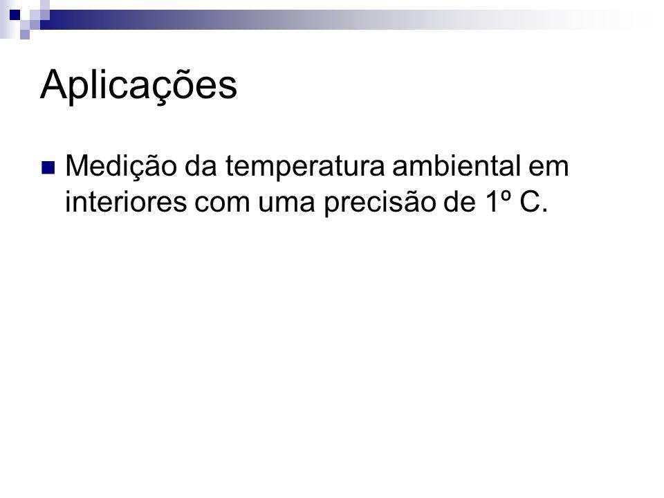 Aplicações Medição da temperatura ambiental em interiores com uma precisão de 1º C.