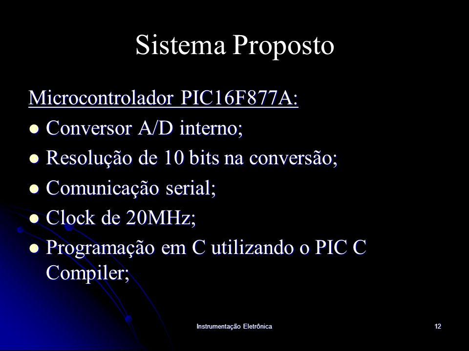 Instrumentação Eletrônica12 Sistema Proposto Microcontrolador PIC16F877A: Conversor A/D interno; Conversor A/D interno; Resolução de 10 bits na conver
