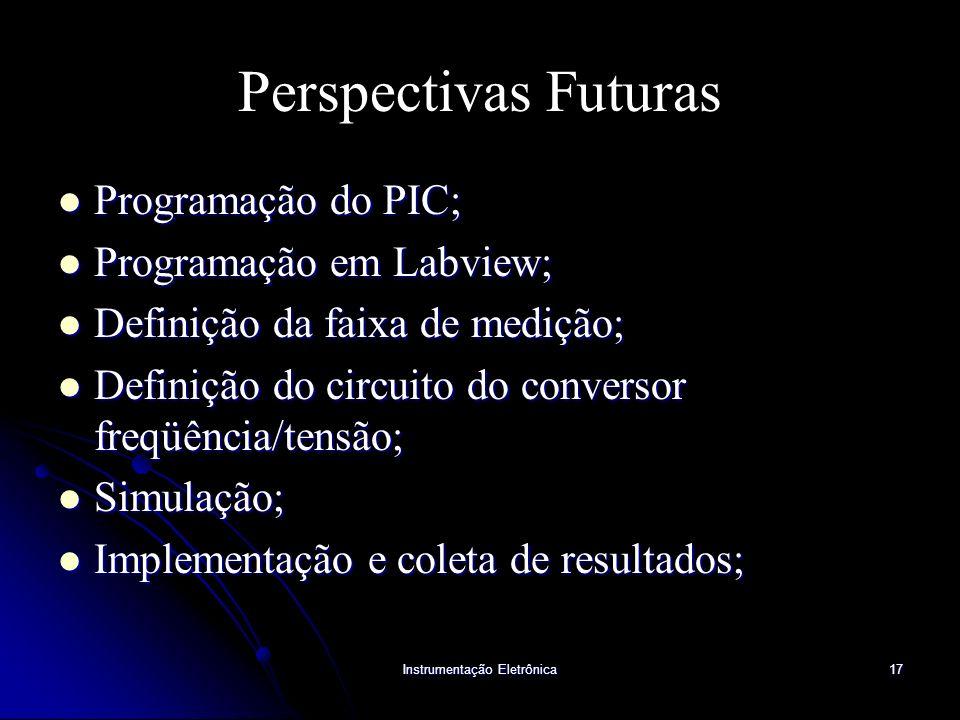 Instrumentação Eletrônica17 Perspectivas Futuras Programação do PIC; Programação do PIC; Programação em Labview; Programação em Labview; Definição da