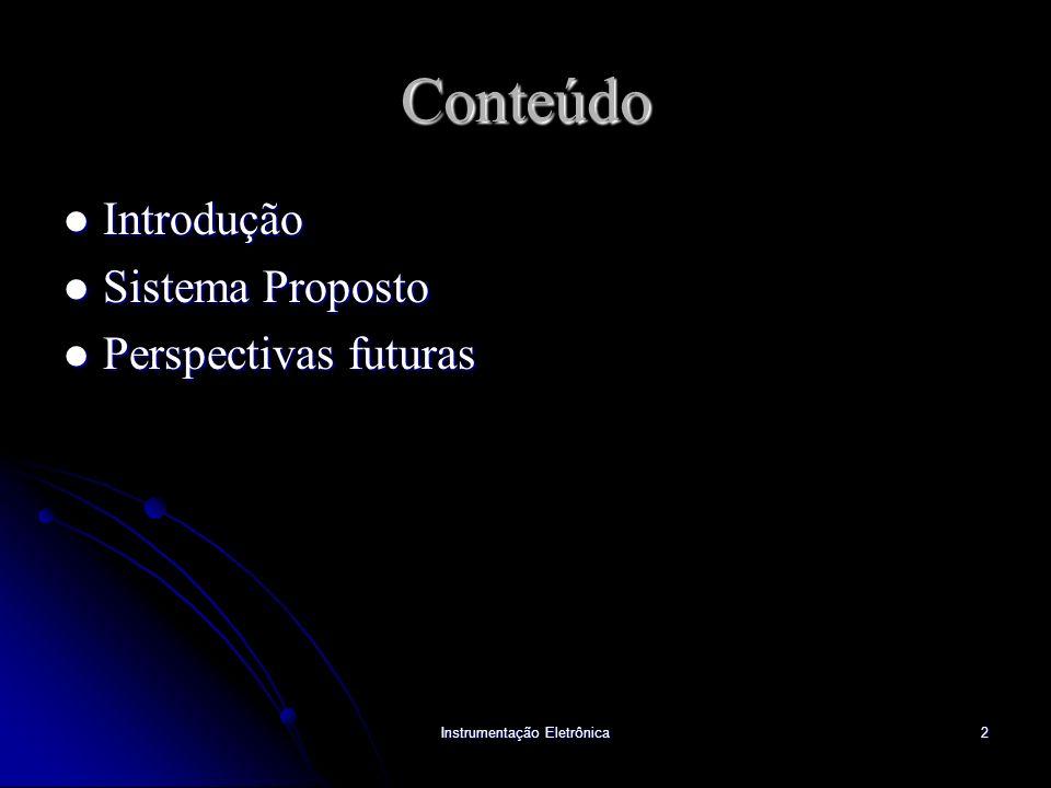 Instrumentação Eletrônica2 Conteúdo Introdução Introdução Sistema Proposto Sistema Proposto Perspectivas futuras Perspectivas futuras