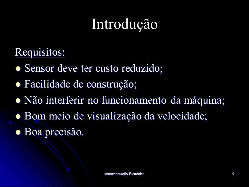 Instrumentação Eletrônica9 Introdução Requisitos: Sensor deve ter custo reduzido; Sensor deve ter custo reduzido; Facilidade de construção; Facilidade