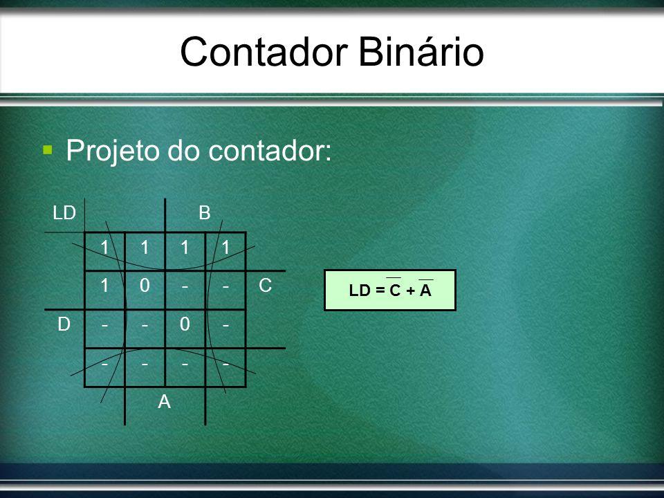 Contador Binário Projeto do contador: LD = C + A LDB 1111 10--C D--0- ---- A