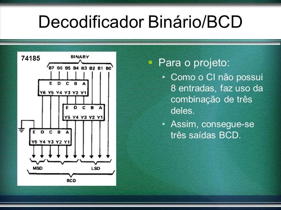 Para o projeto: Como o CI não possui 8 entradas, faz uso da combinação de três deles. Assim, consegue-se três saídas BCD. 74185