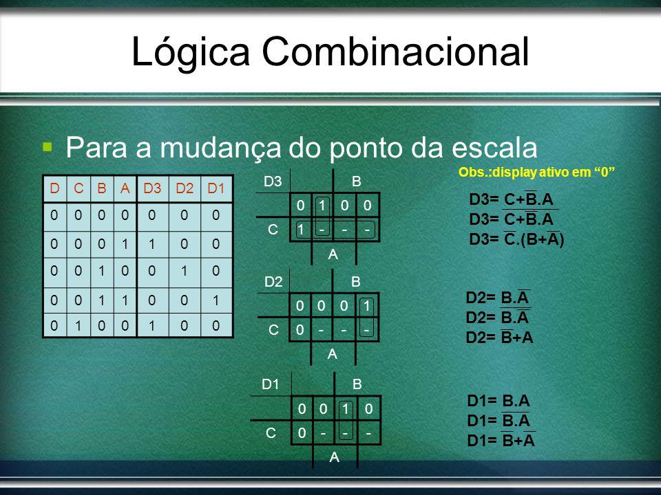 Lógica Combinacional Para a mudança do ponto da escala D2B 0001 C0--- A DCBAD3D2D1 0000000 0001100 0010010 0011001 0100100 D3B 0100 C1--- A D1B 0010 C