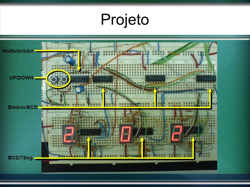Projeto BCD/7Seg. Binário/BCD Multivibrador UP/DOWN