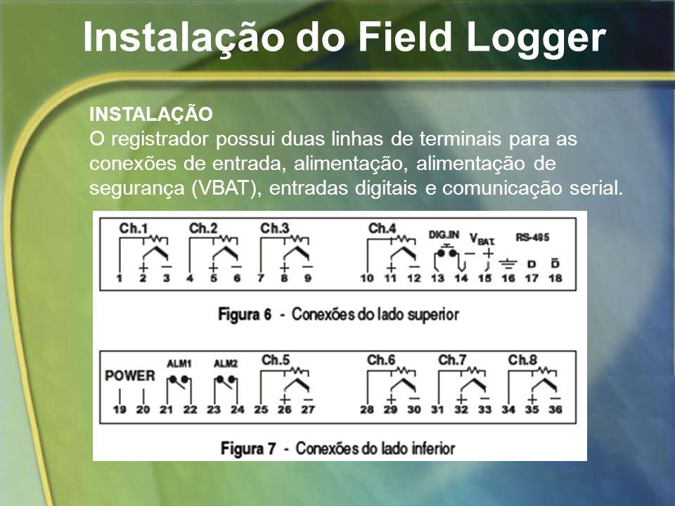 Instalação do Field Logger INSTALAÇÃO O registrador possui duas linhas de terminais para as conexões de entrada, alimentação, alimentação de segurança