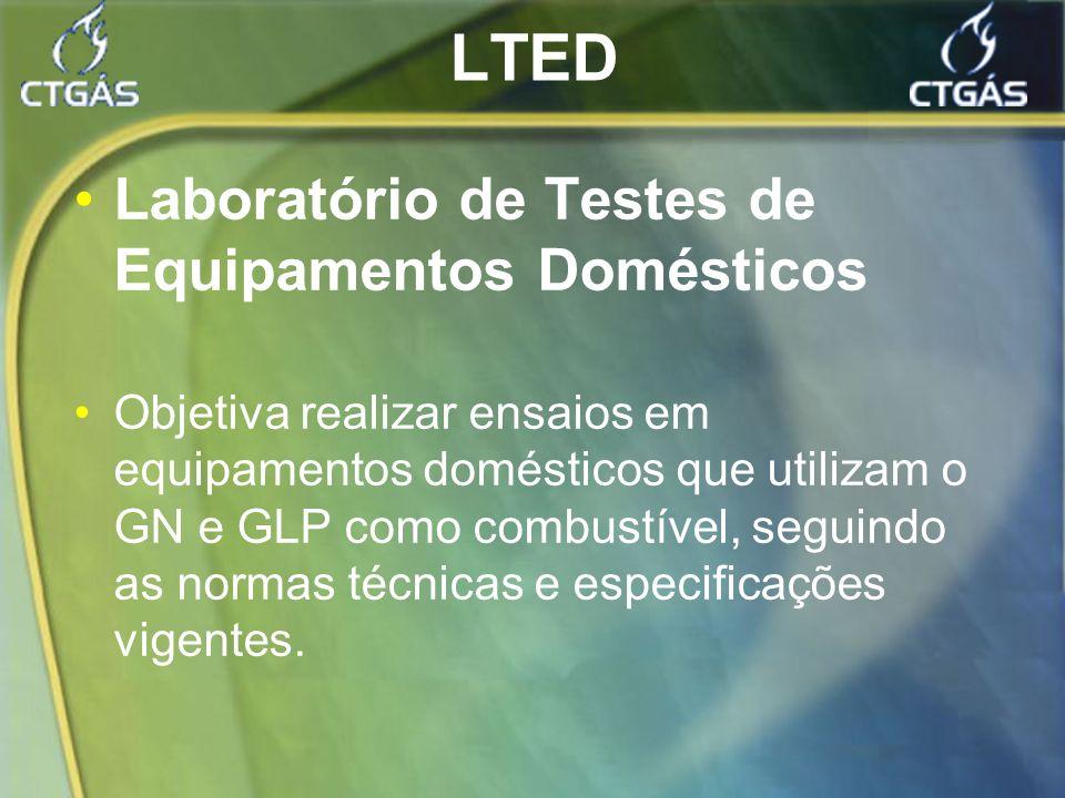 LTED Laboratório de Testes de Equipamentos Domésticos Objetiva realizar ensaios em equipamentos domésticos que utilizam o GN e GLP como combustível, s