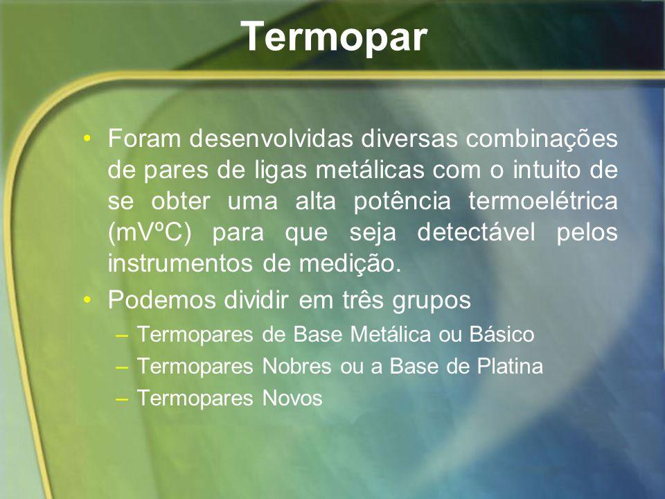 Termopar Foram desenvolvidas diversas combinações de pares de ligas metálicas com o intuito de se obter uma alta potência termoelétrica (mVºC) para qu