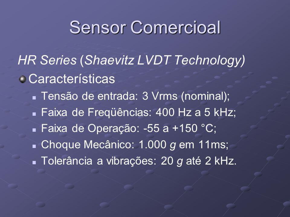 Sensor Comercioal HR Series (Shaevitz LVDT Technology) Características Tensão de entrada: 3 Vrms (nominal); Faixa de Freqüências: 400 Hz a 5 kHz; Faix