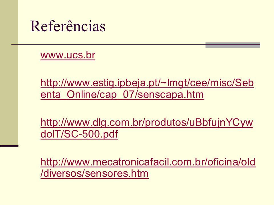 Referências www.ucs.br http://www.estig.ipbeja.pt/~lmgt/cee/misc/Seb enta_Online/cap_07/senscapa.htm http://www.dlg.com.br/produtos/uBbfujnYCyw dolT/S