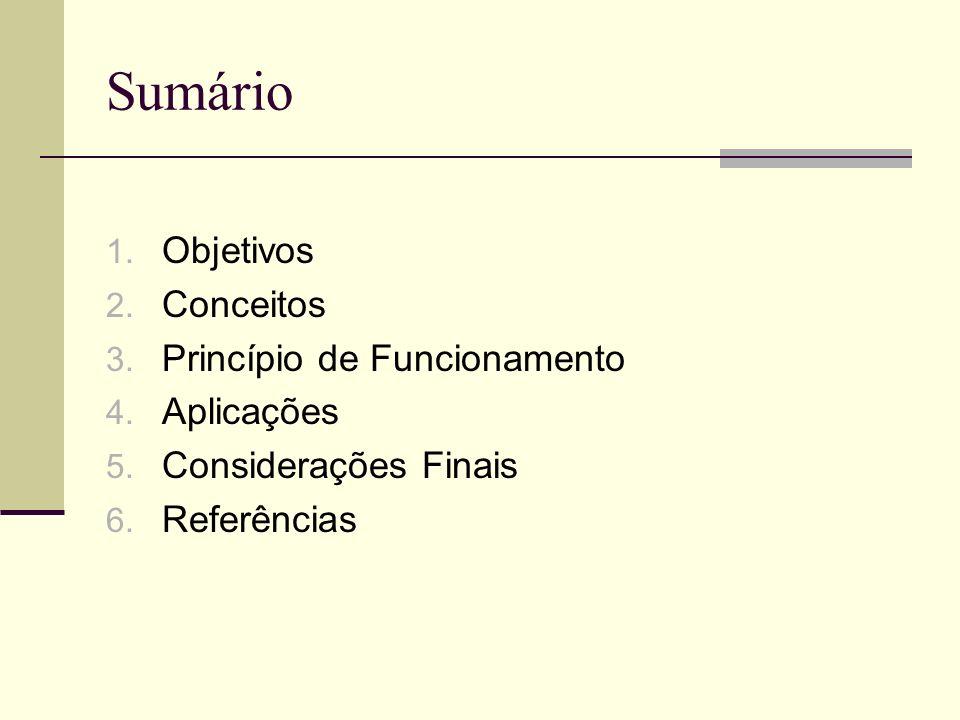 Sumário 1. Objetivos 2. Conceitos 3. Princípio de Funcionamento 4. Aplicações 5. Considerações Finais 6. Referências