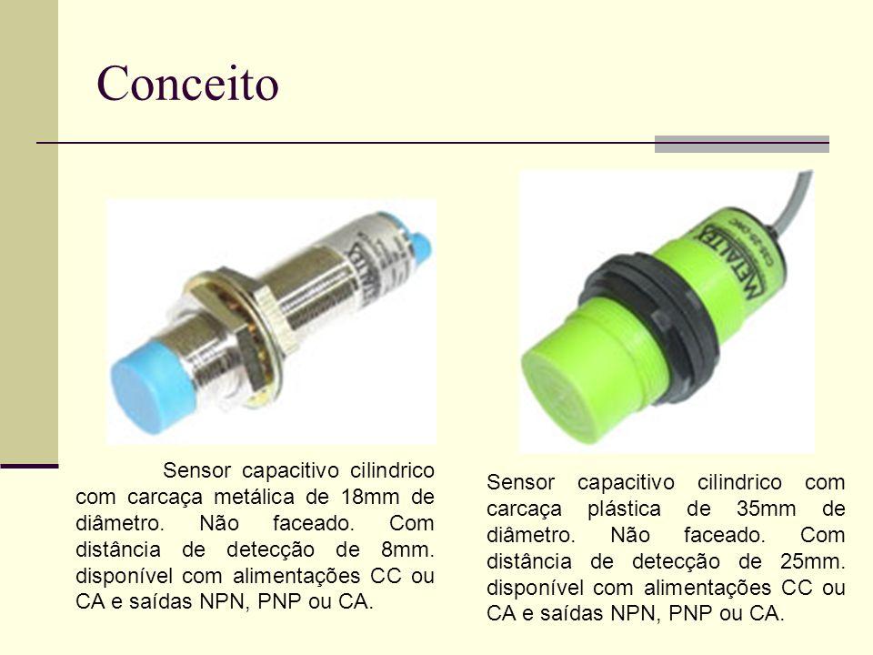 Conceito Sensor capacitivo cilindrico com carcaça metálica de 18mm de diâmetro. Não faceado. Com distância de detecção de 8mm. disponível com alimenta