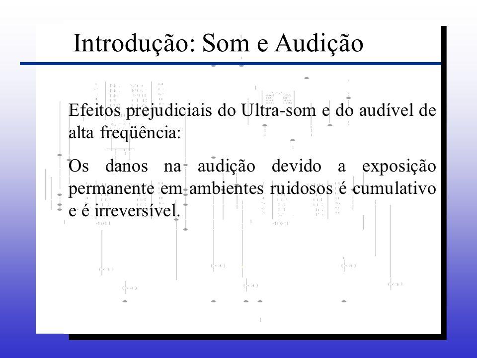 Efeitos prejudiciais do Ultra-som e do audível de alta freqüência: Os danos na audição devido a exposição permanente em ambientes ruidosos é cumulativ