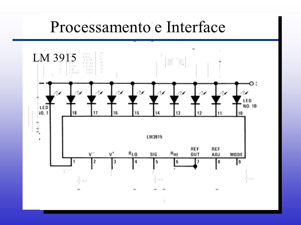 Processamento e Interface Podemos utilizar o LM3915 de dois modos: –Utilizando um LED indicativo.