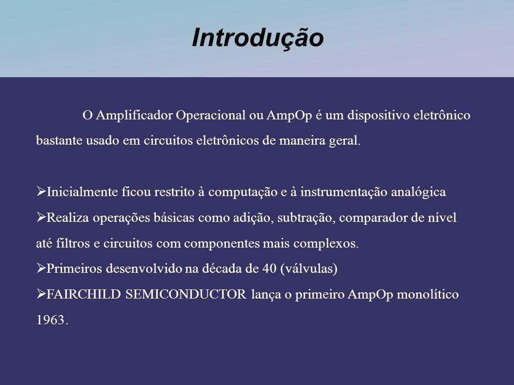 Introdução O Amplificador Operacional ou AmpOp é um dispositivo eletrônico bastante usado em circuitos eletrônicos de maneira geral. Inicialmente fico