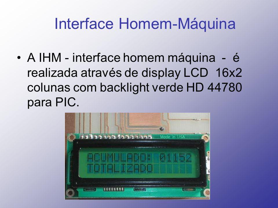 Interface Homem-Máquina A IHM - interface homem máquina - é realizada através de display LCD 16x2 colunas com backlight verde HD 44780 para PIC.