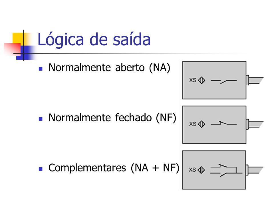 Lógica de saída Normalmente aberto (NA) Normalmente fechado (NF) Complementares (NA + NF)