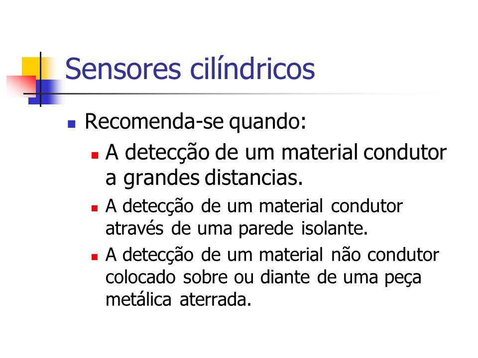 Sensores cilíndricos Recomenda-se quando: A detecção de um material condutor a grandes distancias. A detecção de um material condutor através de uma p