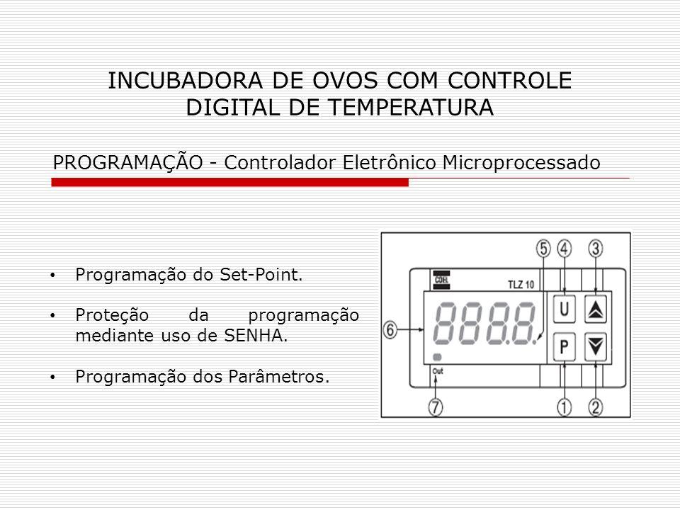 INCUBADORA DE OVOS COM CONTROLE DIGITAL DE TEMPERATURA Programação do Set-Point. Proteção da programação mediante uso de SENHA. Programação dos Parâme