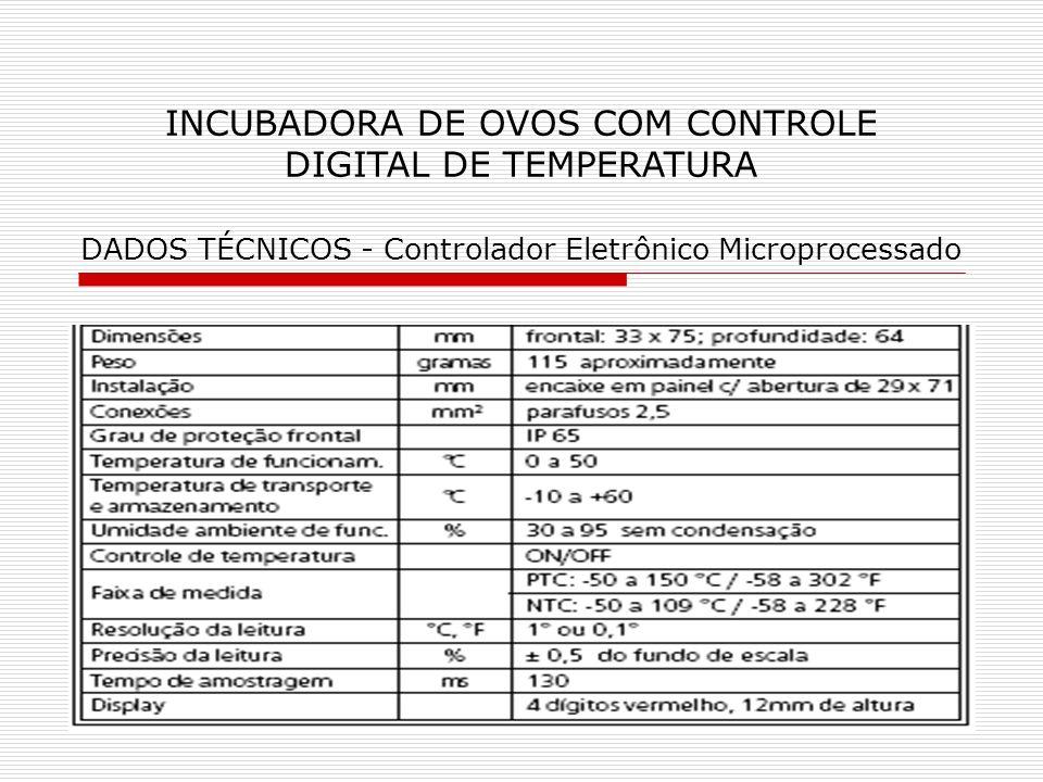 INCUBADORA DE OVOS COM CONTROLE DIGITAL DE TEMPERATURA DADOS TÉCNICOS - Controlador Eletrônico Microprocessado