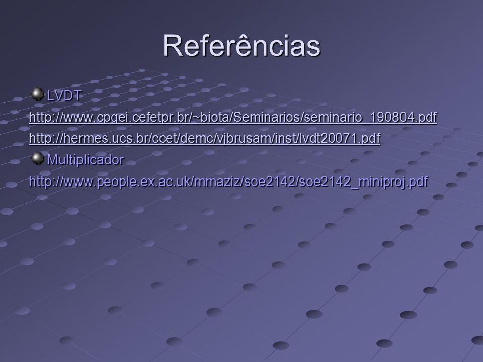 Referências LVDT http://www.cpgei.cefetpr.br/~biota/Seminarios/seminario_190804.pdf http://hermes.ucs.br/ccet/demc/vjbrusam/inst/lvdt20071.pdf Multipl