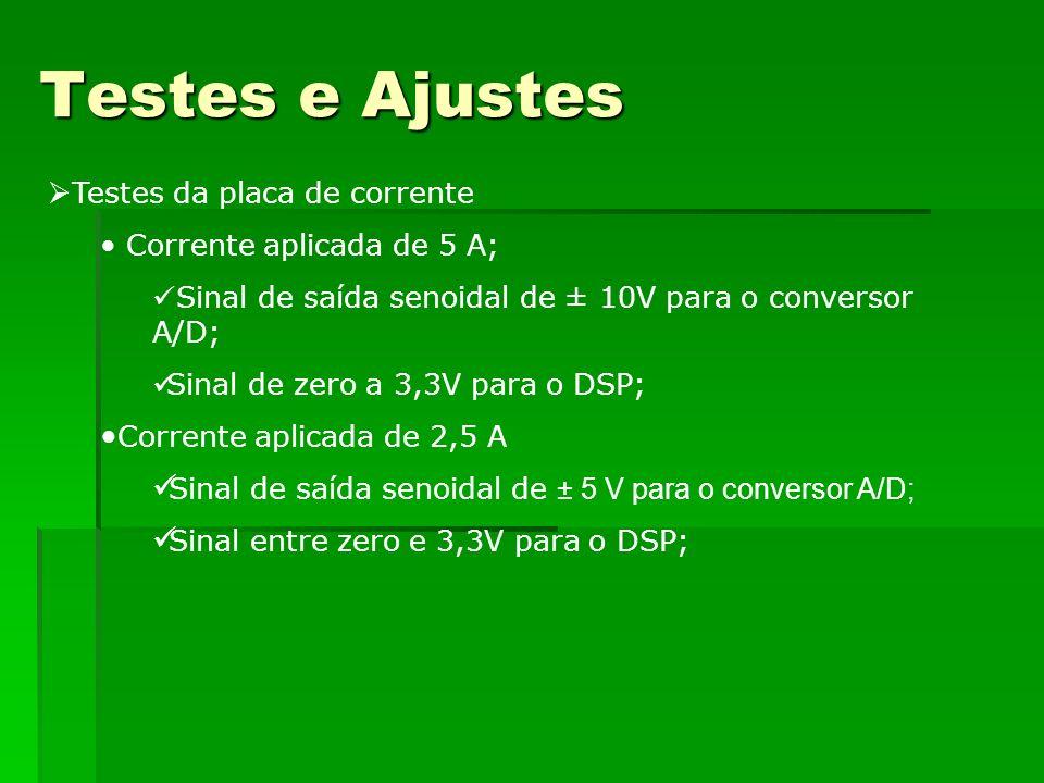 Testes e Ajustes Testes da placa de corrente Corrente aplicada de 5 A; Sinal de saída senoidal de ± 10V para o conversor A/D; Sinal de zero a 3,3V par