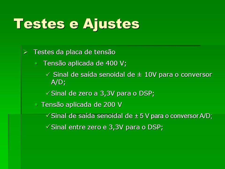 Testes e Ajustes Testes da placa de tensão Testes da placa de tensão Tensão aplicada de 400 V; Tensão aplicada de 400 V; Sinal de saída senoidal de ±