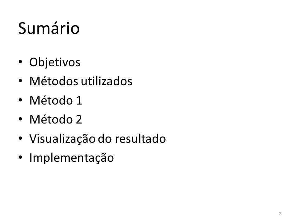 Sumário Objetivos Métodos utilizados Método 1 Método 2 Visualização do resultado Implementação 2