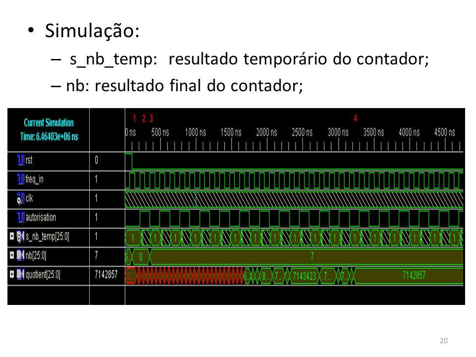 Simulação: – s_nb_temp: resultado temporário do contador; – nb: resultado final do contador; 20